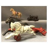 Circa 1900 cast iron and wooden toys