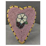 Native American color beaded heart shaped pouch