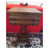 Antique 2 Drawer Lyre Stand