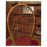 Mid Century Hanging Wicker Rattan Chair