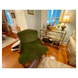 Stuffed chair and bar cart