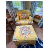 Floral chair and ottoman