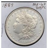 1889 MS63 DMPL Morgan Silver Dollar
