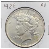 1922 AU Peace Silver Dollar