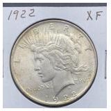 1922 XF Peace Silver Dollar