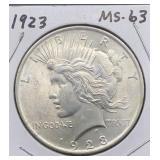 1923 MS63 Peace Silver Dollar