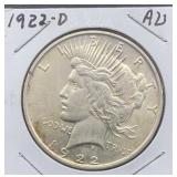1922 D AU Peace Silver Dollar