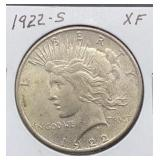 1922 S XF Peace Silver Dollar