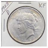 1923 D XF Peace Silver Dollar