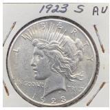 1923 S AU Peace Silver Dollar