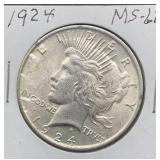 1924 MS62 Peace Silver Dollar