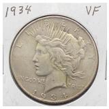 1934 VF Peace Silver Dollar