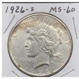 1926 S MS60 Peace Silver Dollar