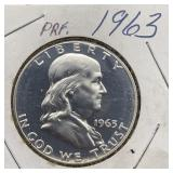 1963 PRF Franklin Half Dollar