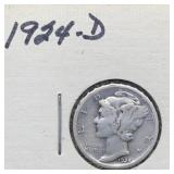 1924 D Mercury Silver Dime