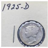 1925 D Mercury Silver Dime