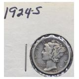 1924 S Mercury Silver Dime