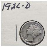 1926 D Mercury Silver Dime