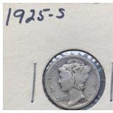 1925 S Mercury Silver Dime