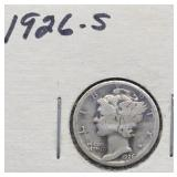 1926 S Mercury Silver Dime