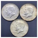 3 - 1966 Kennedy Half Dollars
