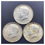 3 - 1964 Kennedy Half Dollars