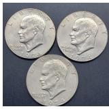 3 - 1974 D Eisenhower Dollars