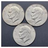 3 - 1977 D Eisenhower Dollars