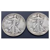 2 - 1945 D Walking Liberty Half Dollars