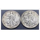 2 - 1945 S Walking Liberty Half Dollars