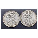 2 - 1946 Walking Liberty Half Dollars