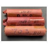 1969D BU, 1970D BU, 1970S BU Lincoln Cent Rolls