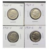 1968S, 69S, 70S, 71S PR Roosevelt Dimes