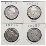 1972S, 73S, 74S, 75S Jefferson Nickels