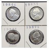 1984S, 85S, 86S, 87S Jefferson Nickels