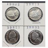 1980S, 81S, 82S, 83S Jefferson Nickels