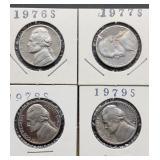 1976S, 77S, 78S, 79S Jefferson Nickels