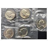 5 - 1962 Jefferson Nickels