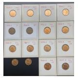 2 - 1954, 14 - 1954D Wheat Pennies