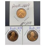 1969S Proof, 2 - 1978S Proof Lincoln Cents