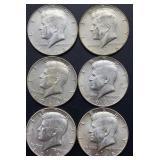 6 - 1968 D Kennedy Half Dollars