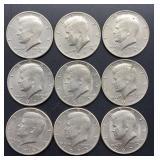 4 - 1973, 5 - 1973 D Kennedy Half Dollars