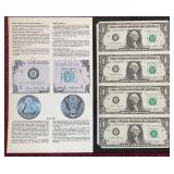 Series 1985 Uncut Sheet $1 Bills