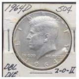 1964 D DBL. DIE Kennedy Half Dollar