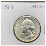 1964 MS64 Washington Quarter