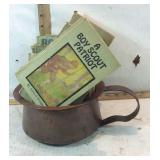 Copper Chamber Pot with Antique Boy Scout Books