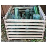 Wooden Crate with Vintage Bottles & Crate Frame