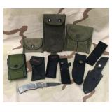 Lot of Military Pouches & Knife Sheafs