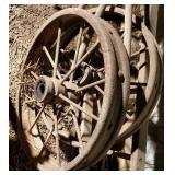 2 metal wagon wheels, 1 wooden wagon wheel