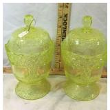 Moser Vaseline Glass Candy Dishes